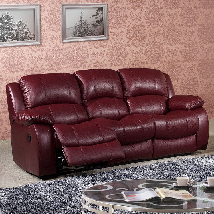 Burgundy Leather Reclining Sofa Thesofa