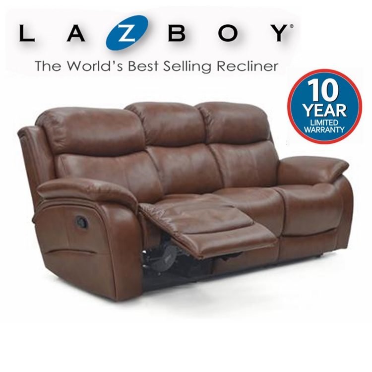 Lazboy Ely leather 3 seater manual recliner